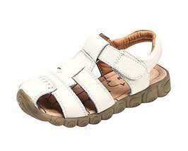 Hot Sale Boy's Summer Leather Casual Beach Sandals WHITE, Feet Length 14CM