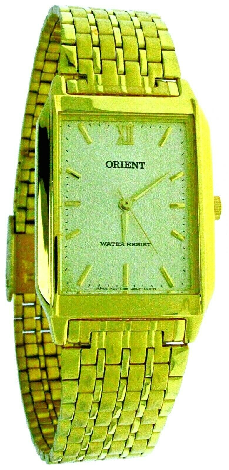Primary image for New ORIENT Quartz Rectangular Yellow Gold Tone Case & Dial Watch Water Resistant