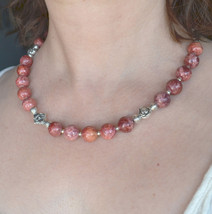 Beaded Gemstone Necklace, Cherry Pink Necklace, Tribal, Ethnic (405) - $37.00