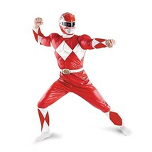 Disguise Power Rangers Red Ranger Classic Muscle Adult Halloween Costume... - $54.84