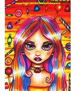 Candy Land Fairy original art print fantasy fairytales big eye girl draw... - $7.99