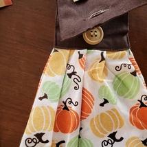 Kitchen Tie Towels, set of 2, Pumpkin Spice design, fall kitchen decor tea towel image 4