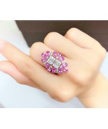 CLEARANCE! NWT $6,109 RARE 18KT 4CT PINK SAPPHIRE DOUBLE BAGUETTE DIAMON... - $6,047.91