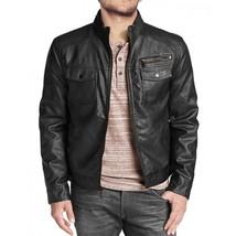 Men's Vintage Genuine Lambskin Leather Jacket In Black - $69.29+