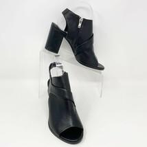 Calvin Klein Women's Soft Black Leather Block Heel Peep Toe Booties, Size 8 - $39.55