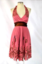 BCBG MAXAZRIA Pink Coral Eyelet Floral Apron Halter Top Fit Flare Midi D... - $32.66