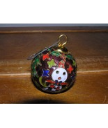 Vintage Small Purple Enamel Cloisonne Christmas Tree Ball Ornament w Sno... - $9.49
