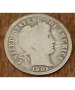 Vintage 1901 New Orleans Barber Liberty Head Dime Coin - Circulated Cond... - $148.49
