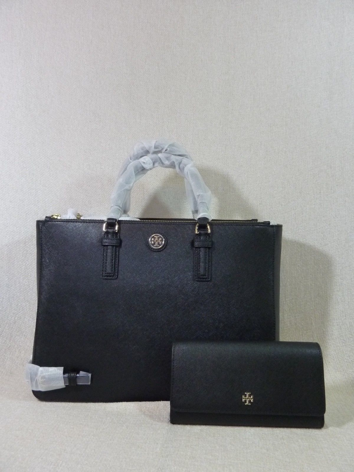 Primary image for NWT Tory Burch Black Saffiano Leather Large Robinson Multi Tote + Wallet $820