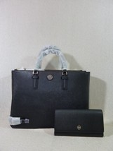 NWT Tory Burch Black Saffiano Leather Large Robinson Multi Tote + Wallet... - $691.02