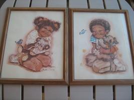 "2 Prints by K. SMITH Black Boy & Girl African Americans 11"" x 14"" [Z12A] - $16.24"