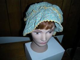 Vintage  Sun Bonnet Over Sized Brim greem flowers ladies  reenactment  C... - €7,95 EUR