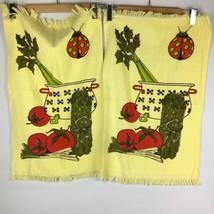 "VTG Set Pair 23"" Asparagus Tomato Ladybug Celery Cannon Kitchen Towels N... - $23.46"