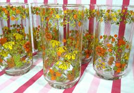 FaB Vintage 6pc Libbey Floral Motif Textured Fall Colors 1970's Glasswar... - $28.00