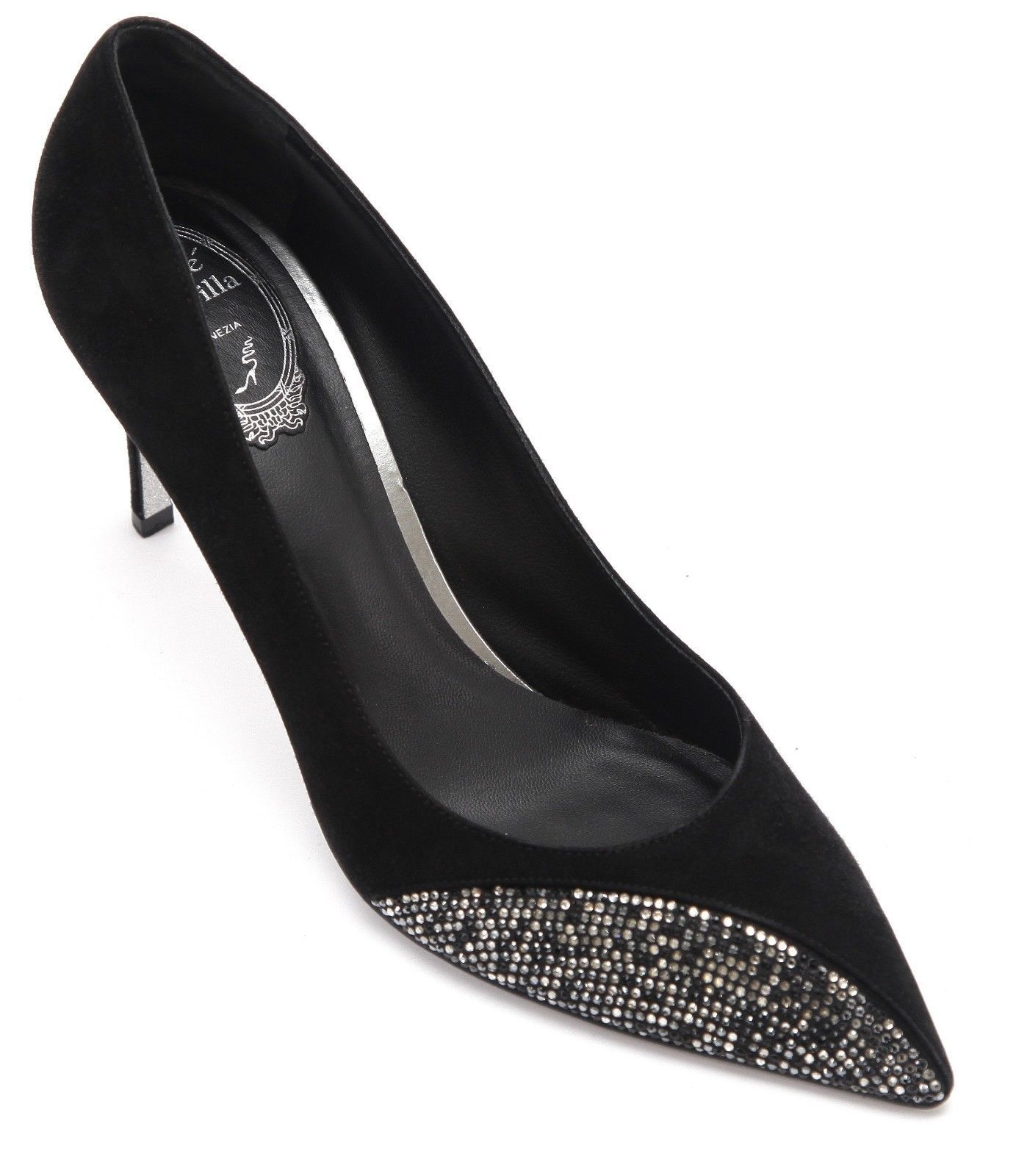 Primary image for RENE CAOVILLA Black Suede Pump Crystal Pointed Toe Heel Sz 40