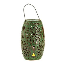 Led Candles Battery, Green Ceramic Lantern And Votive Aaa Candle Battery... - $41.99