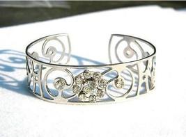 Vintage Metal Cuff Bracelet with Rhinestones - $11.39