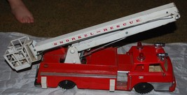 Vintage Sears Remote Control SNORKEL RESCUE FIRE ENGINE TRUCK Tin & Plas... - $70.11