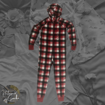 Family PJs Macys Womens Red Buffalo Plaid Fleece One Piece Hooded Pajama... - $37.00