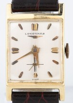 Vintage Men's Longines 14k Yellow Gold Hand-Winding Watch w/ Black Leather Band - $950.40