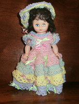 "13"" Plastic Doll with Handmade Crochet Dress Hat Pantaloons Pastel Ruffles - $14.50"