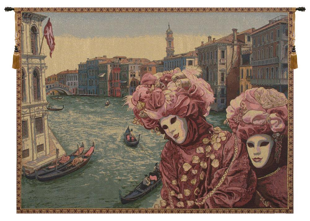 View with Masks Tapestry Wall Hanging
