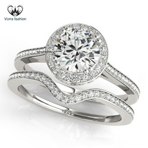 Solitaire W/ Accents Ring Set In Round Cut Diamond White Gold Plated 925 Silver - $82.99