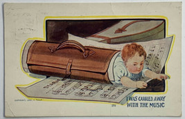 Old Divided Postcard Carried Away With The Music Baby Rolled in Sheet Mu... - $13.67