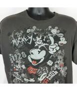 Walt Disney World Mickey Mouse Graffiti Style Mens Gray Large Tee Shirt - $22.99