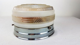 "Vintage Round Ceiling Light Fixture with Chrome Base Drum Light 6-1/2"" D... - $20.57"