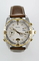 Bulova Millenia Mens Stainless Silver Gold Brown Leather Parts Repair Item - $55.29