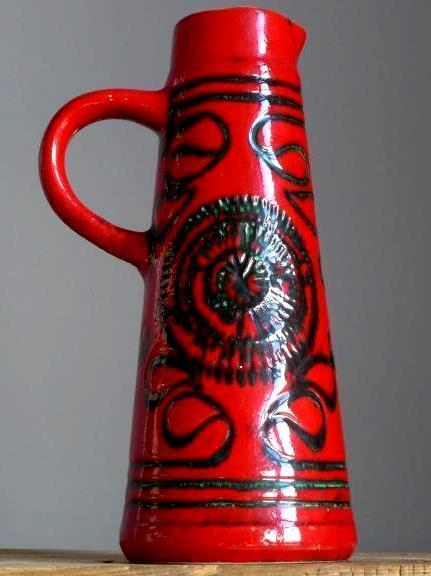 Vintage 60-70's BAY KERAMIK Red Vase Pitcher West German Pottery Fat Lava Era