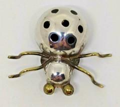 Black Enamel Spots Large Puffy Spider Lady Bug Brooch Pin TC 254 - $92.39