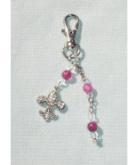 Pink Gemstone Fleur De Lis Fashion Charm - Purse Charm,  Anywhere Charm - $13.99