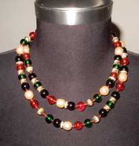 "20"" NECKLACE HANDKNOTTED W/GREEN,RED,GOLD, BLACK, PEARL LIKE BEADS &RHIN... - $24.75"