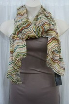 Cejon Scarf Sz OS One Size Tan Multi Color Sheer Polyester Casual Scarf ... - $14.27