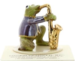 Hagen-Renaker Miniature Ceramic Frog Figurine Toadally Brass Band Saxophone image 1
