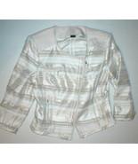 New Womens 6 White House Black Market Moto Jacket White Beige Silver Zip... - $107.25