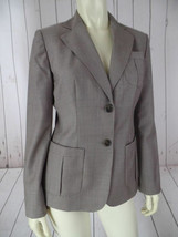 Ann Taylor Loft Blazer 2 Taupe Wool Poly Tencel Fitted Lightweight Tailored Chic - $58.41