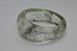 Vintage Lucite Bangle Silver Foil Clear Wide Cuff Bracelet Tinsel Mid Ce... - $49.00
