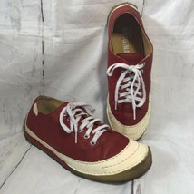 Clarks Originals Red White Leather Fashion Sneaker Crepe Soles Womens Shoe 8.5 - $44.06
