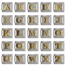 Letters Italian Charm (gold plated)  fits 9mm Classic Nomination Bracelet - $4.70
