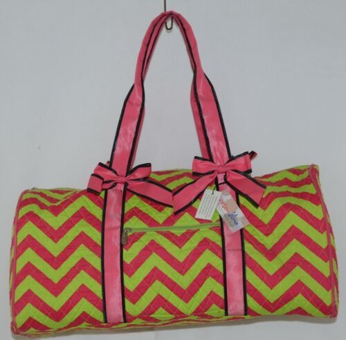 Rosen Blue  CC703 Fuchsia Lime Chevron Pattern Duffle Bag