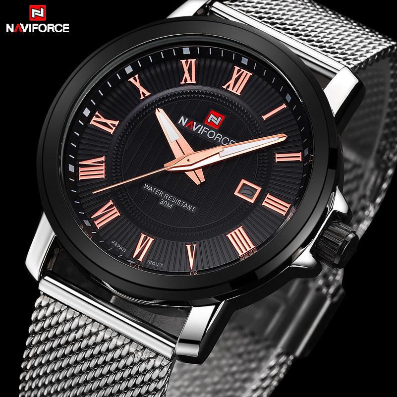 NAVIFORCE Luxury Quartz Watch Casual Wat Wristwat stainless Steel Strap mesh b D for sale  USA