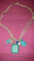 Liz Claiborne LC signed  Turquoise & glass beaded multi strand Dangle Necklace  - $24.99