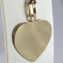 18K YELLOW GOLD HEART, PHOTO & TEXT ENGRAVED PERSONALIZED PENDANT 30 MM, MEDAL  image 1