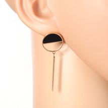 Unique Rose Tone Designer Earrings, Jet Black Faux Onyx Circle & Dangling Bar - $17.99