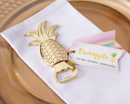 Gold Tropical Pineapple Bottle Opener Beach Bridal Wedding Favor 25 50 7... - $94.95+
