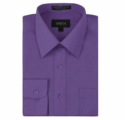 Omega Italy Men's Purple Dress Shirt Long Sleeve Slim Fit w/ Defect - 4XL