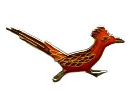 Roadrunner Field Bird Orange Brown Enamel Silver Plated Lapel Pin Vintage - $14.67